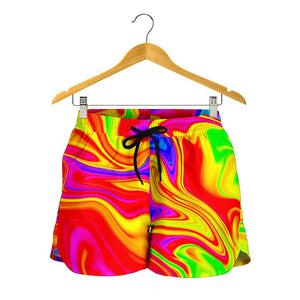 Abstract Colorful Liquid Trippy Print Women's Shorts GearFrost