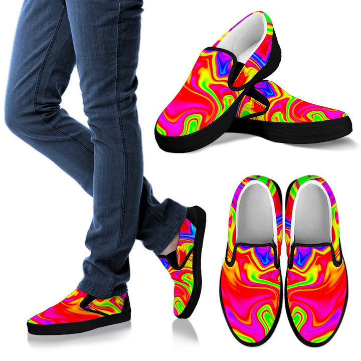 Abstract Colorful Liquid Trippy Print Women's Slip On Shoes GearFrost