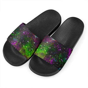 Abstract Dark Galaxy Space Print Black Slide Sandals GearFrost