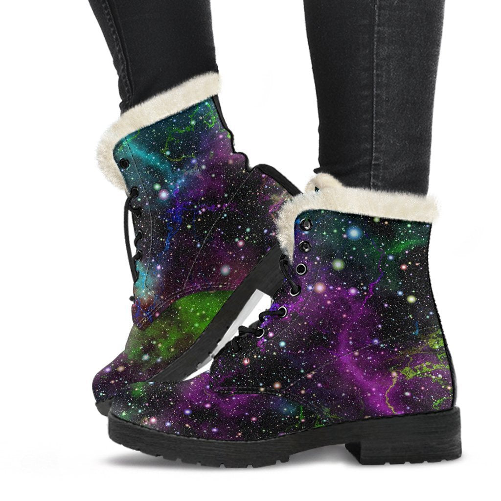 Abstract Dark Galaxy Space Print Comfy Boots GearFrost