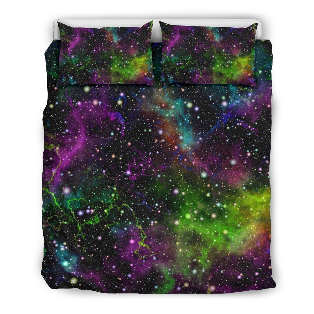 Abstract Dark Galaxy Space Print Duvet Cover Bedding Set GearFrost