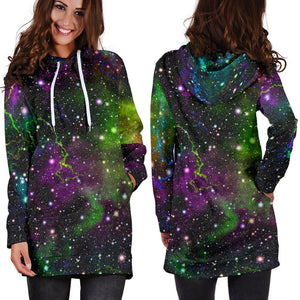 Abstract Dark Galaxy Space Print Hoodie Dress GearFrost