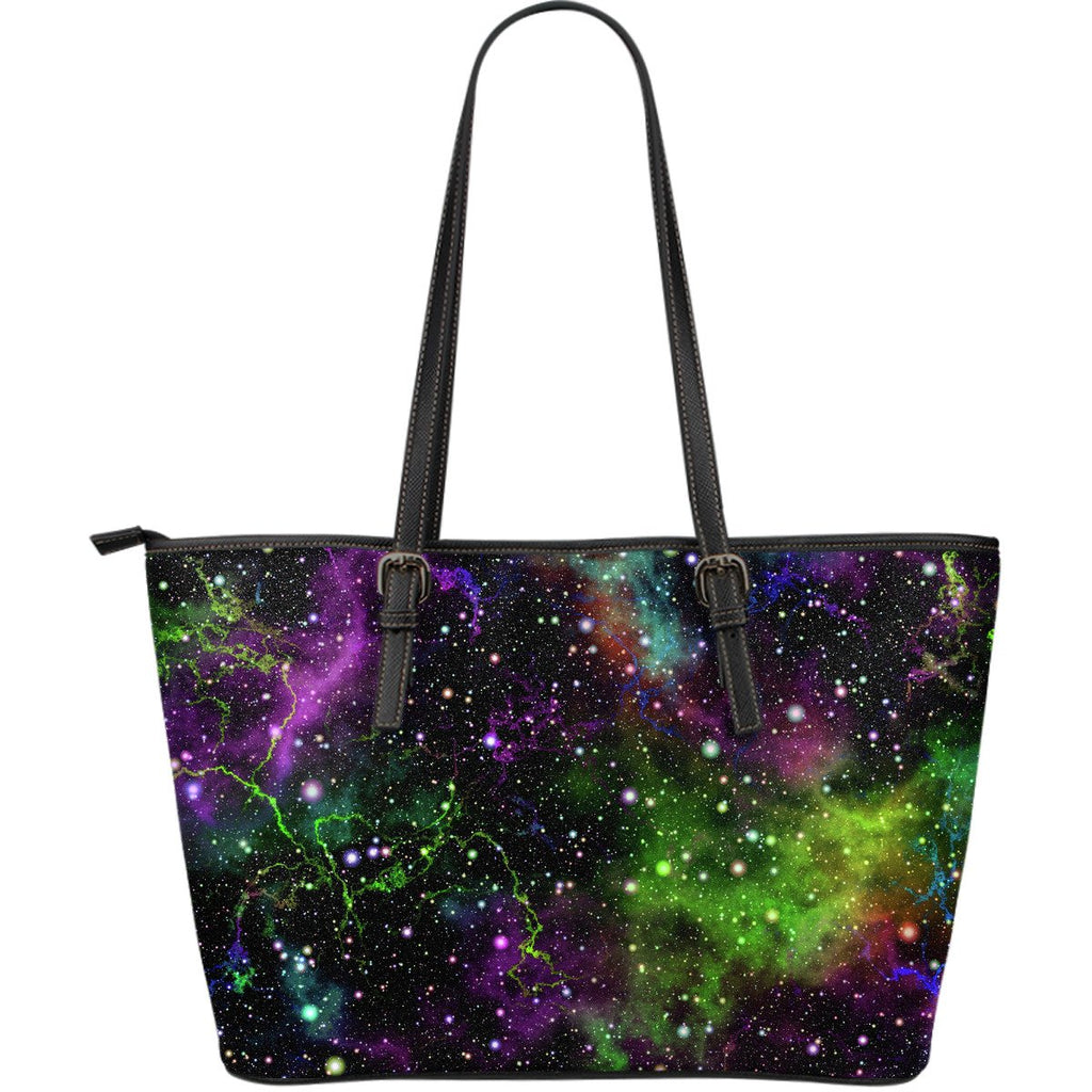Abstract Dark Galaxy Space Print Leather Tote Bag GearFrost