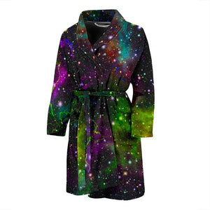 Abstract Dark Galaxy Space Print Men's Bathrobe GearFrost