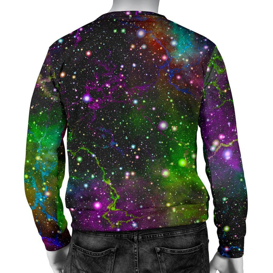 Abstract Dark Galaxy Space Print Men's Crewneck Sweatshirt GearFrost