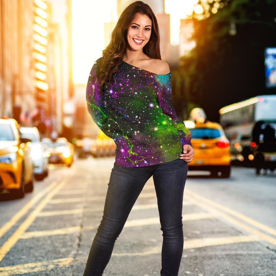 Abstract Dark Galaxy Space Print Off Shoulder Sweatshirt GearFrost