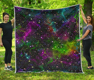 Abstract Dark Galaxy Space Print Quilt GearFrost