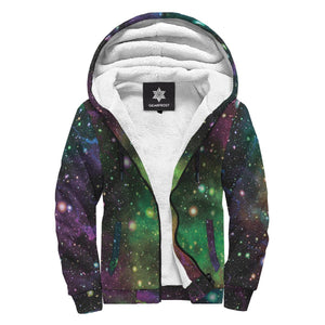 Abstract Dark Galaxy Space Print Sherpa Lined Fleece Hoodie GearFrost