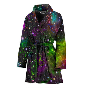 Abstract Dark Galaxy Space Print Women's Bathrobe GearFrost