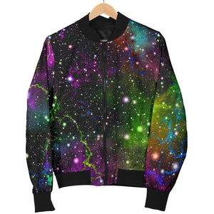 Abstract Dark Galaxy Space Print Women's Bomber Jacket GearFrost