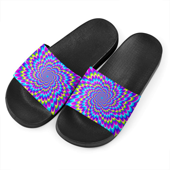 Abstract Dizzy Moving Optical Illusion Black Slide Sandals GearFrost