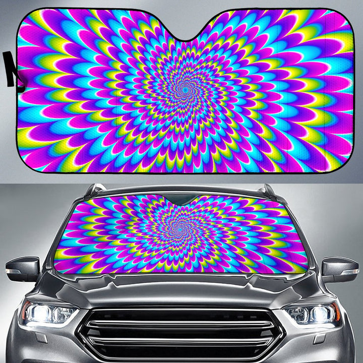 Abstract Dizzy Moving Optical Illusion Car Sun Shade GearFrost