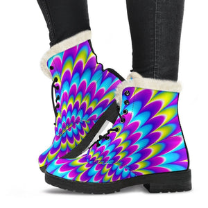 Abstract Dizzy Moving Optical Illusion Comfy Boots GearFrost