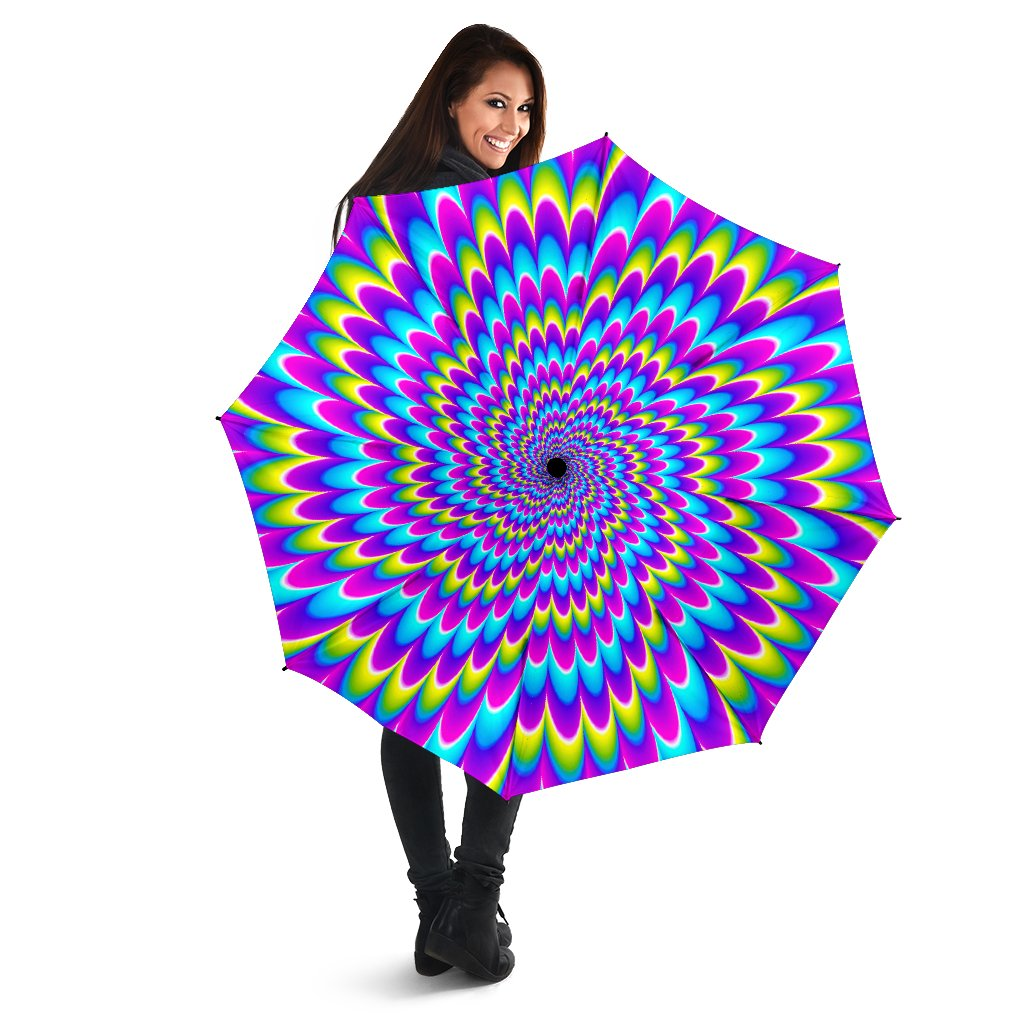 Abstract Dizzy Moving Optical Illusion Foldable Umbrella GearFrost