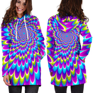 Abstract Dizzy Moving Optical Illusion Hoodie Dress GearFrost
