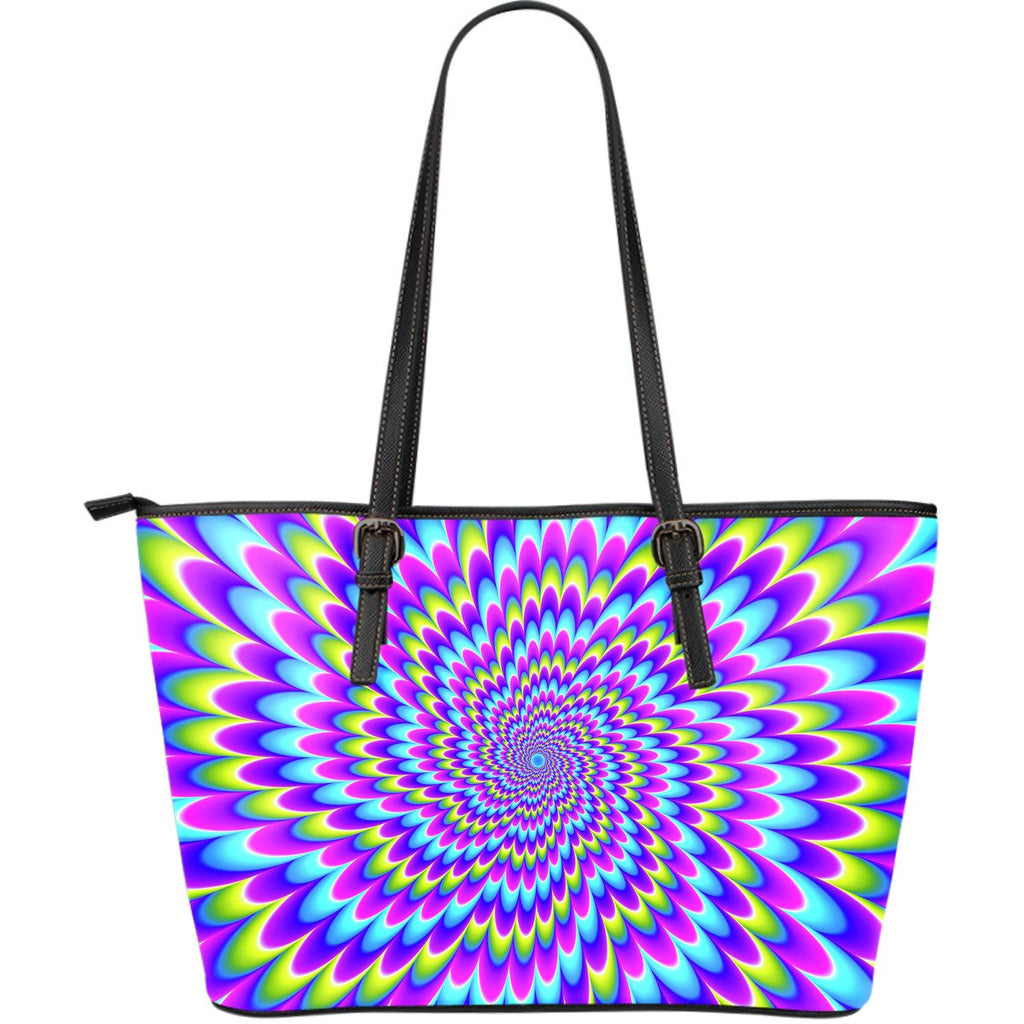 Abstract Dizzy Moving Optical Illusion Leather Tote Bag GearFrost