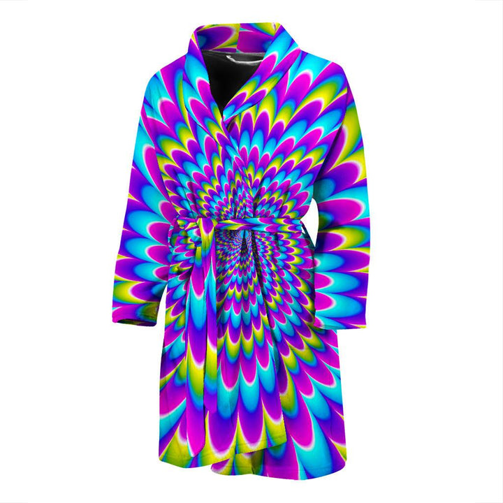 Abstract Dizzy Moving Optical Illusion Men's Bathrobe GearFrost