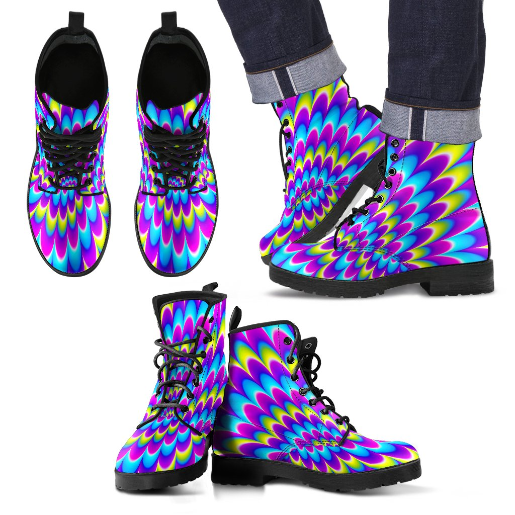 Abstract Dizzy Moving Optical Illusion Men's Boots GearFrost