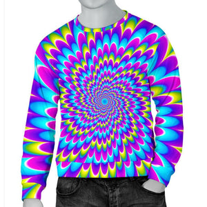Abstract Dizzy Moving Optical Illusion Men's Crewneck Sweatshirt GearFrost