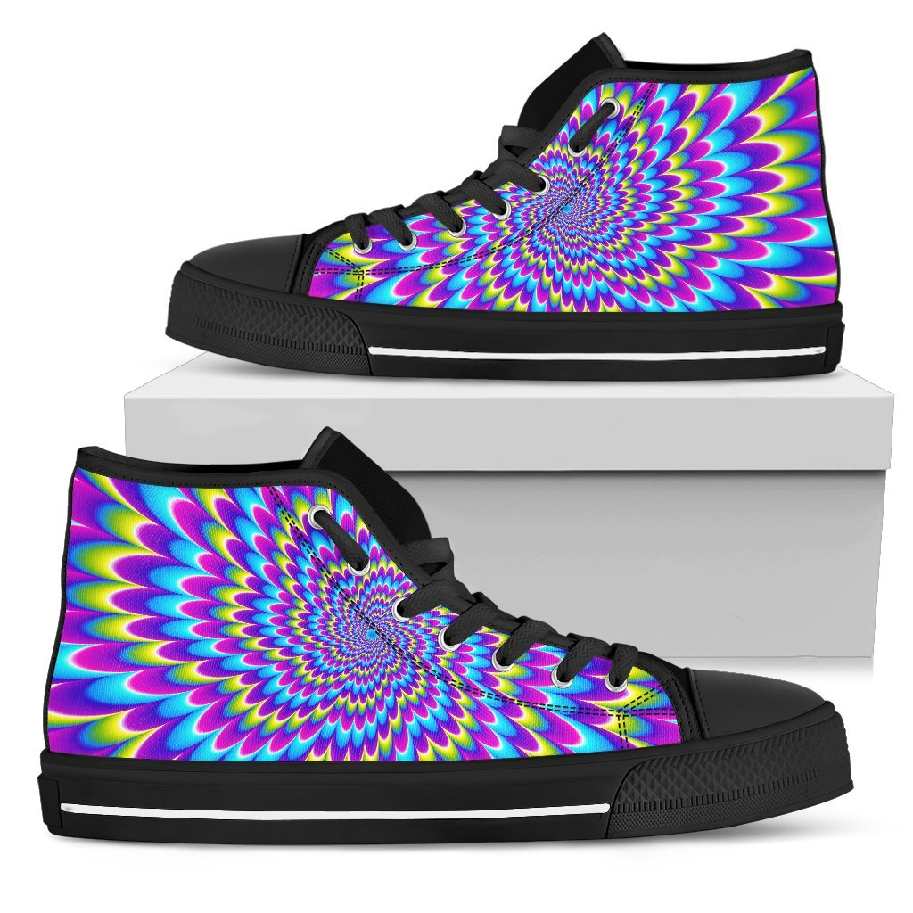Abstract Dizzy Moving Optical Illusion Men's High Top Shoes GearFrost
