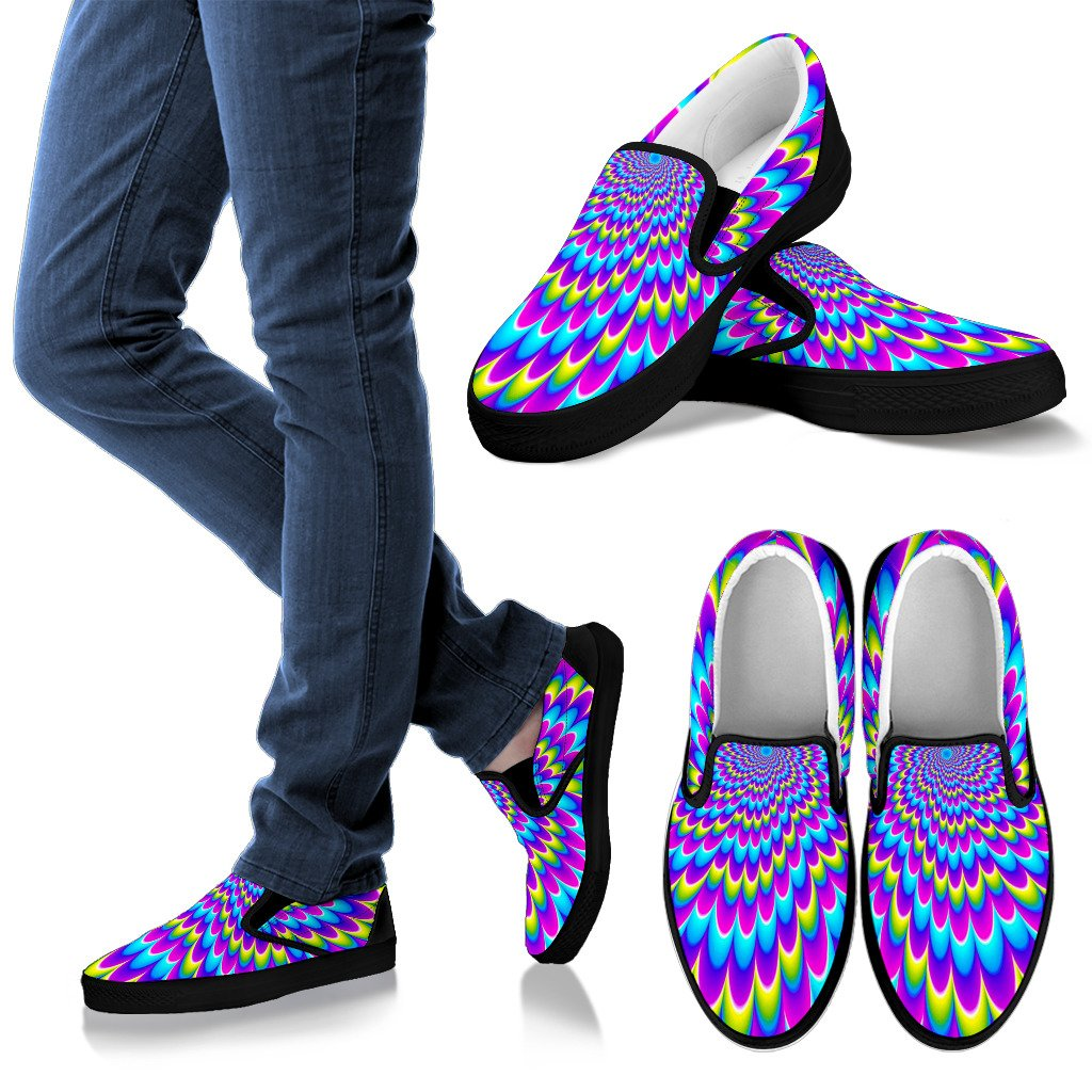 Abstract Dizzy Moving Optical Illusion Men's Slip On Shoes GearFrost