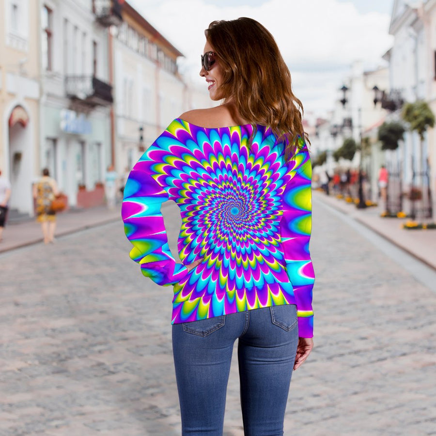 Abstract Dizzy Moving Optical Illusion Off Shoulder Sweatshirt GearFrost