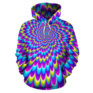 Abstract Dizzy Moving Optical Illusion Pullover Hoodie GearFrost