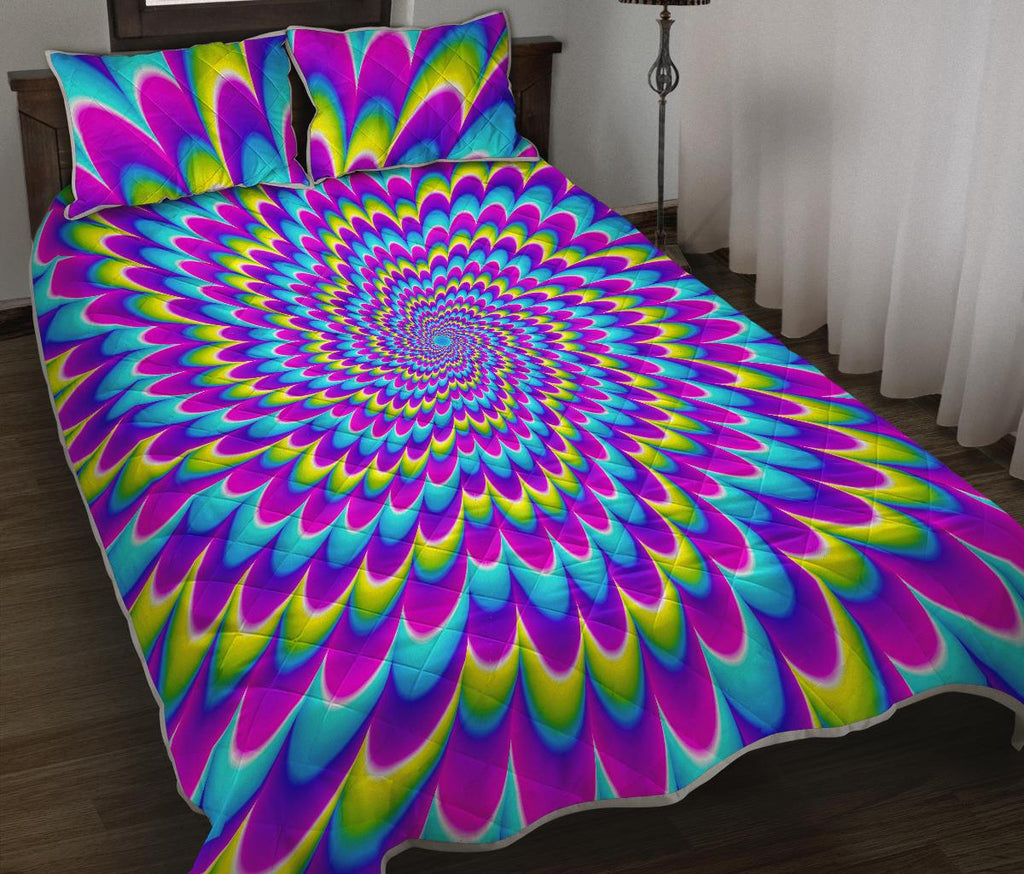 Abstract Dizzy Moving Optical Illusion Quilt Bed Set GearFrost