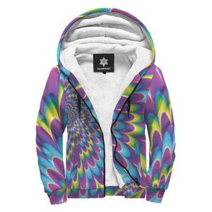 Abstract Dizzy Moving Optical Illusion Sherpa Lined Fleece Hoodie GearFrost