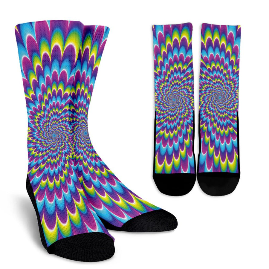 Abstract Dizzy Moving Optical Illusion Unisex Crew Socks GearFrost