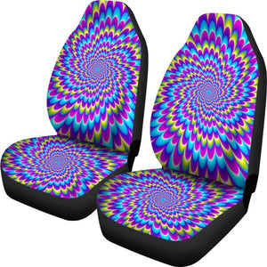 Abstract Dizzy Moving Optical Illusion Universal Fit Car Seat Covers GearFrost
