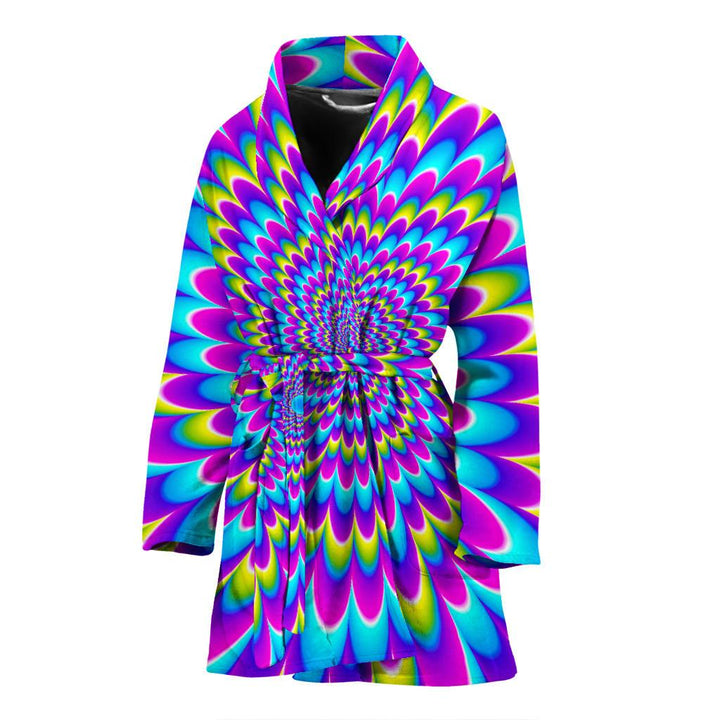 Abstract Dizzy Moving Optical Illusion Women's Bathrobe GearFrost