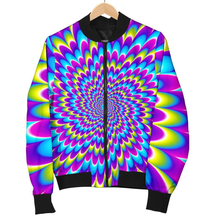 Abstract Dizzy Moving Optical Illusion Women's Bomber Jacket GearFrost