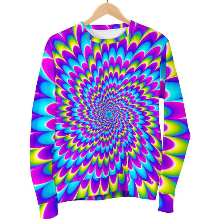 Abstract Dizzy Moving Optical Illusion Women's Crewneck Sweatshirt GearFrost