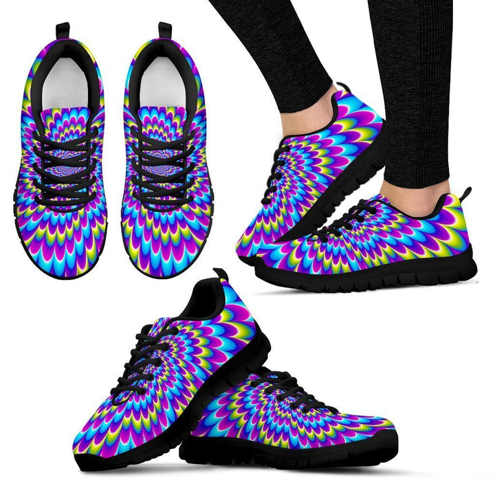 Abstract Dizzy Moving Optical Illusion Women's Sneakers GearFrost