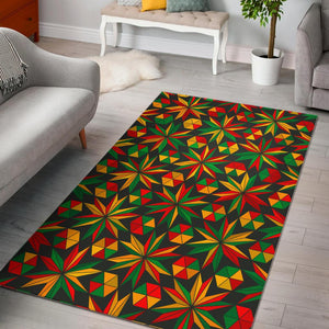 Abstract Geometric Reggae Pattern Print Area Rug GearFrost