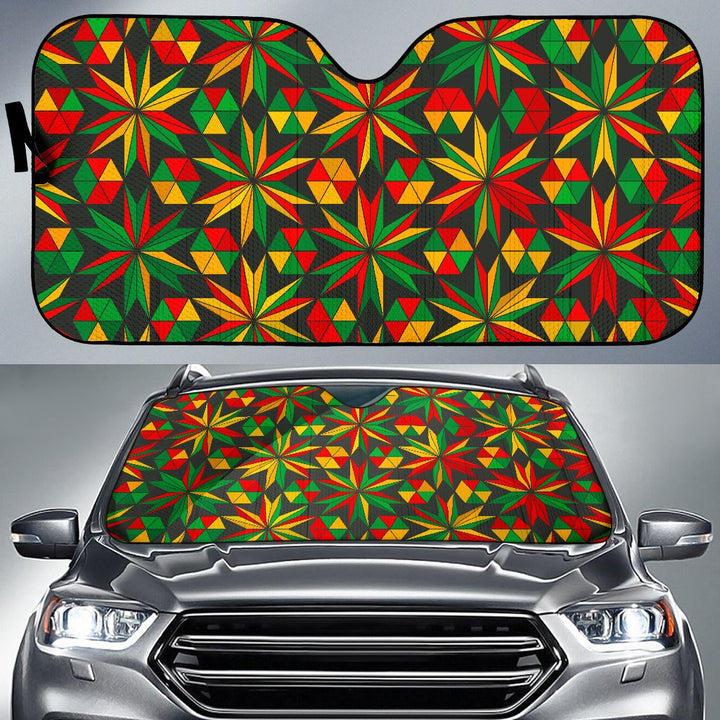 Abstract Geometric Reggae Pattern Print Car Sun Shade GearFrost