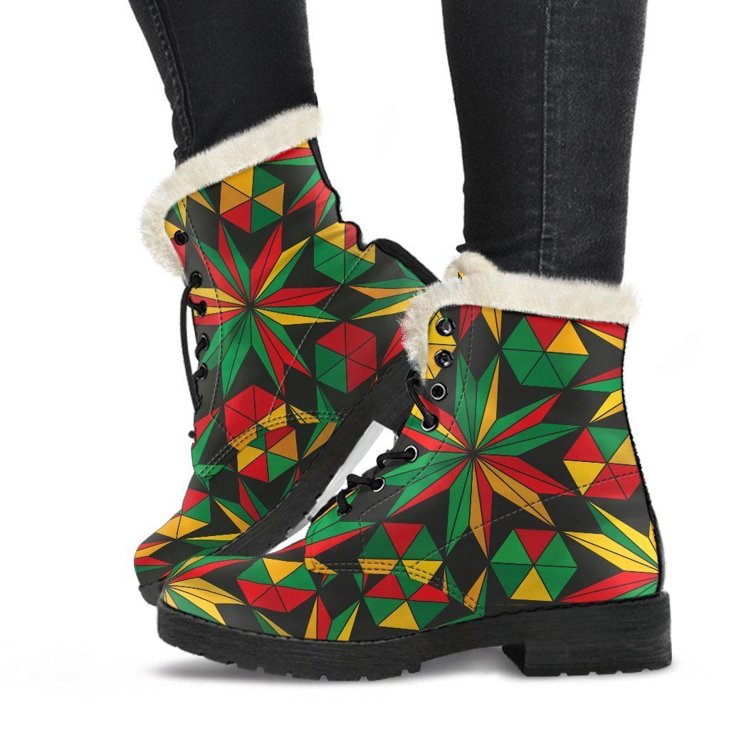 Abstract Geometric Reggae Pattern Print Comfy Boots GearFrost