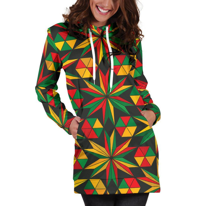 Abstract Geometric Reggae Pattern Print Hoodie Dress GearFrost