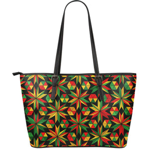 Abstract Geometric Reggae Pattern Print Leather Tote Bag GearFrost