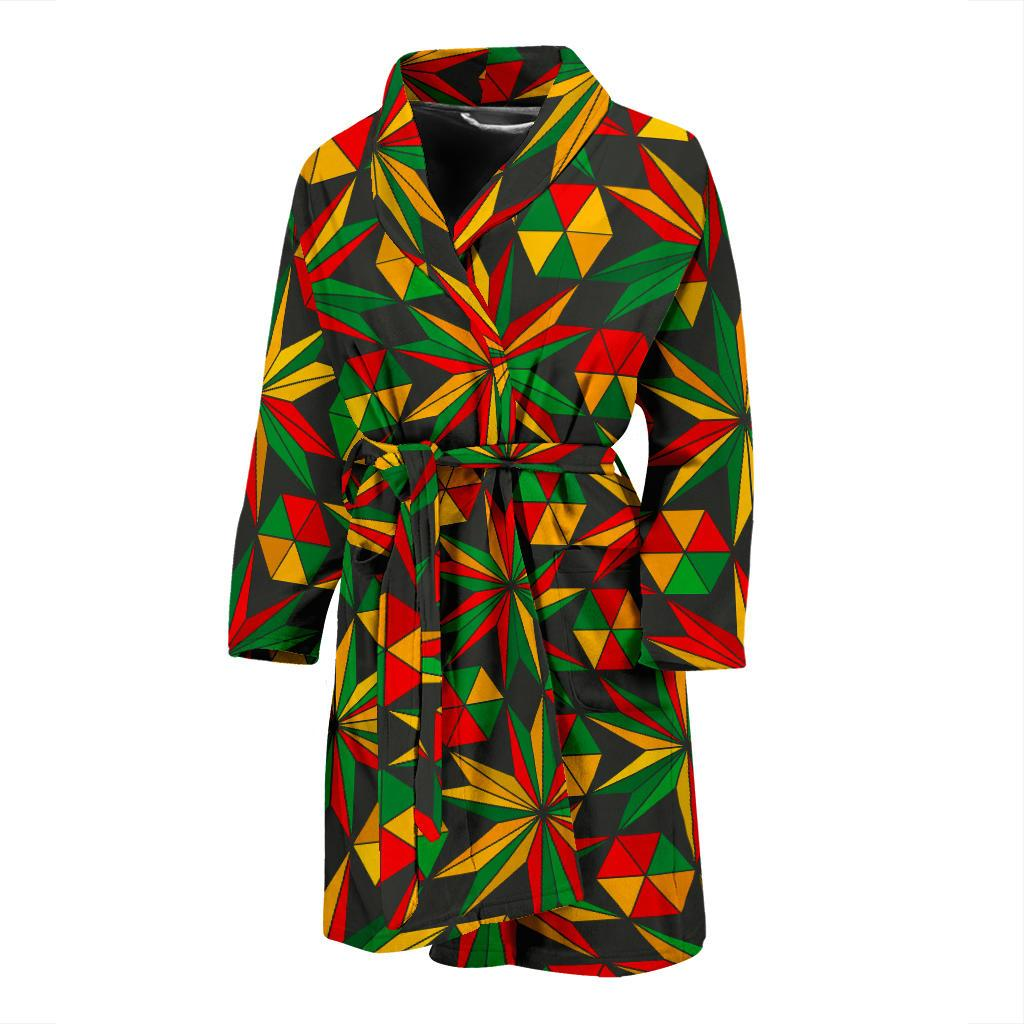 Abstract Geometric Reggae Pattern Print Men's Bathrobe GearFrost