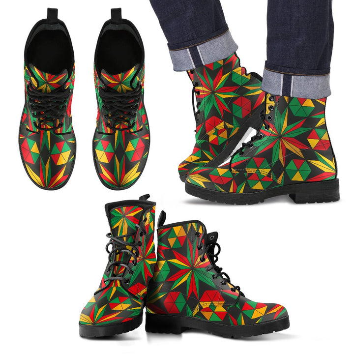 Abstract Geometric Reggae Pattern Print Men's Boots GearFrost