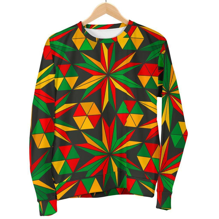 Abstract Geometric Reggae Pattern Print Men's Crewneck Sweatshirt GearFrost