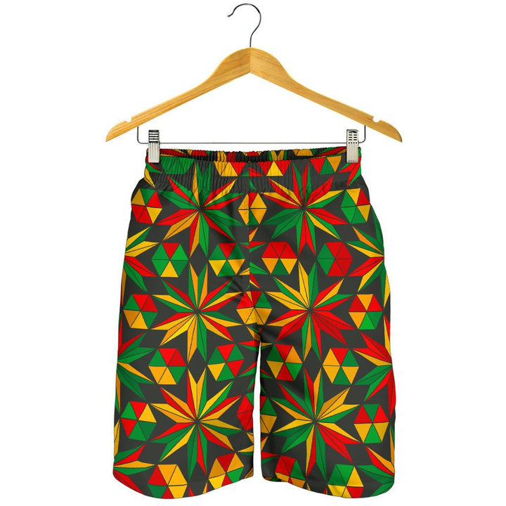 Abstract Geometric Reggae Pattern Print Men's Shorts GearFrost
