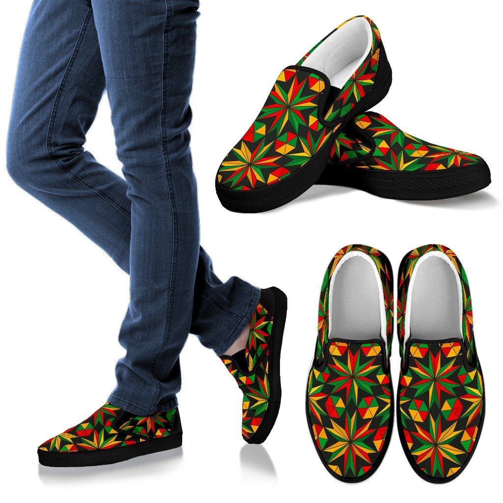 Abstract Geometric Reggae Pattern Print Men's Slip On Shoes GearFrost