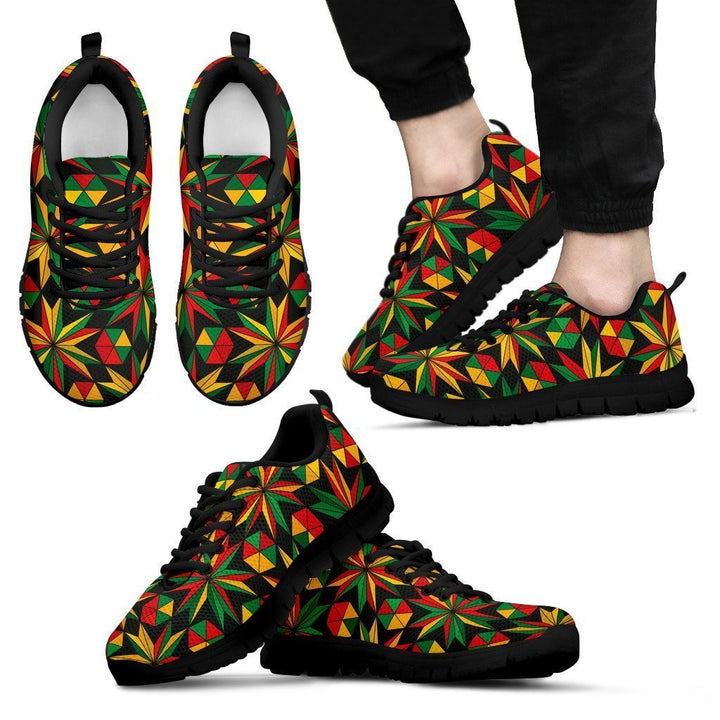 Abstract Geometric Reggae Pattern Print Men's Sneakers GearFrost
