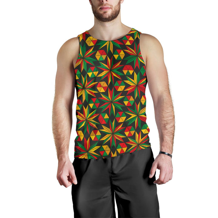 Abstract Geometric Reggae Pattern Print Men's Tank Top GearFrost