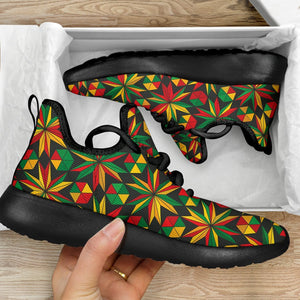 Abstract Geometric Reggae Pattern Print Mesh Knit Shoes GearFrost