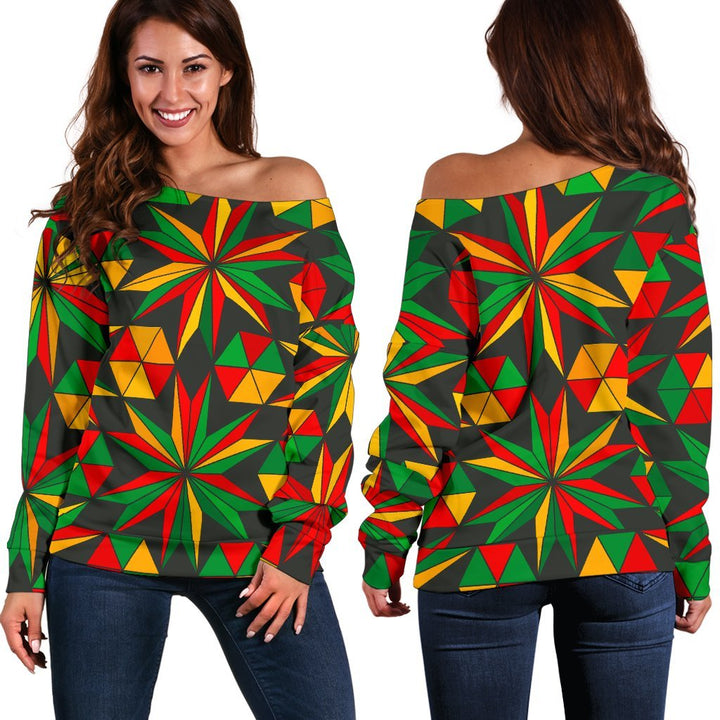 Abstract Geometric Reggae Pattern Print Off Shoulder Sweatshirt GearFrost