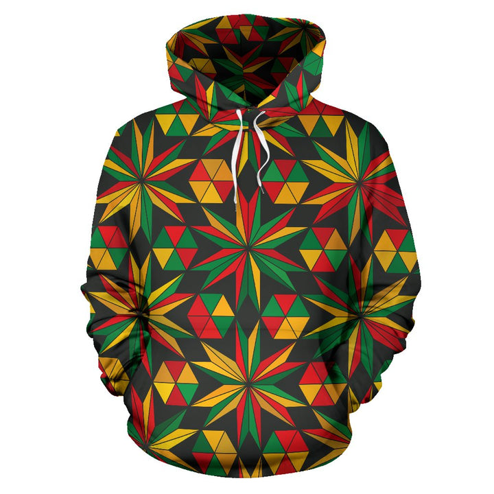Abstract Geometric Reggae Pattern Print Pullover Hoodie GearFrost